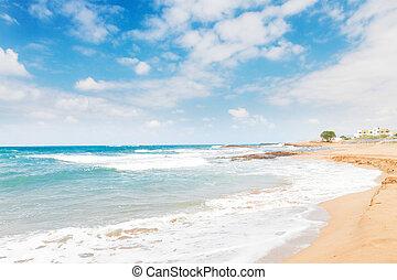 Malia beach, Crete, Greece - Aegan sea and Malia beach,...