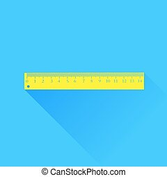 Wood Ruler Isolated  on Blue Background. Long Shadow.