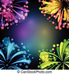 Background with bright colorful fireworks and salute