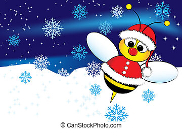 Christmas card with a bee Santa Claus