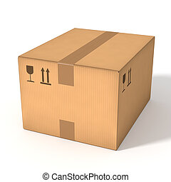 Cardboard box - Closed cardboard box isolated on white...