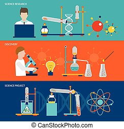Science research and chemical laboratory banners - Science...