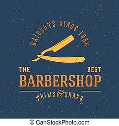 Barbershop Vector Vintage Label or Logo Template with Retro...