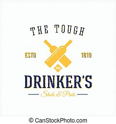 Drinker Pub Bottles Abstract Vector Vintage Label or Logo...