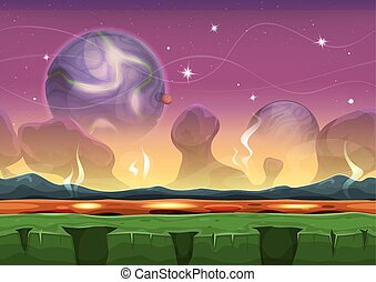 Fantasy Sci-fi Alien Landscape For Ui Game - Illustration of...