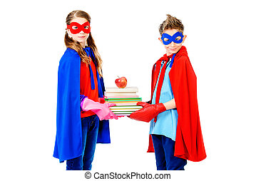 best students - Boy and girl teenagers in a costume of...