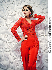 femme beauty - Seductive sensual woman in elegant red suit...