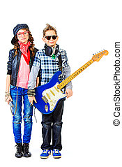 star children - Modern teenagers playing electric guitar and...