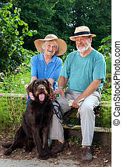 Senior Couple at the Garden with their Dog Pet - Smiling...