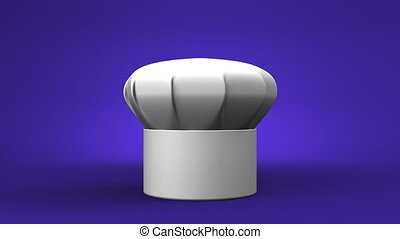 Chefs Hat With Three Stars On Blue Background 3D render...