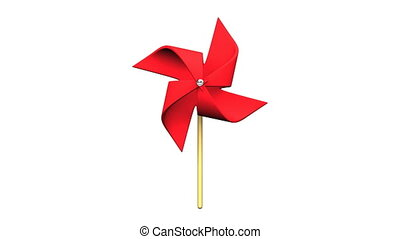 Loopable Red Pinwheel On White Background.