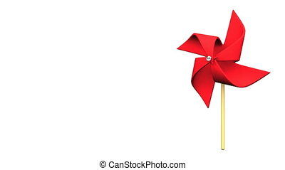 Loopable Red Pinwheel On White Text Space.