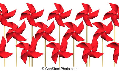 Loopable Red Pinwheels On White Background.