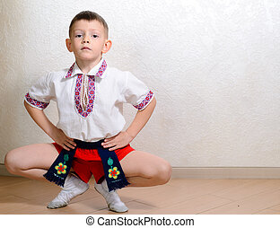 Ukrainian boy during an artistic performance