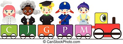 Professions for kids on train