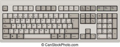 Spanish qwerty spanish SP computer grey keyboard - Vector...