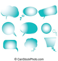 Collection of stylized blue text bubbles, isolated objects on white, vector art illustration