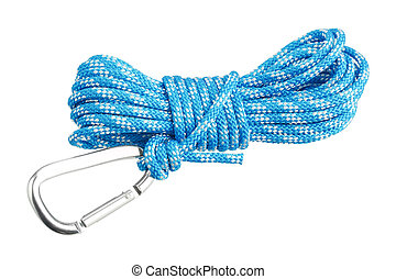 Carabiner attached to rope isolated on white background