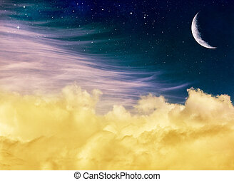Fantasy Moon and Clouds - Soft yellow and pink clouds with a...