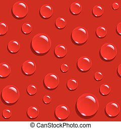 Water drops on red background seamless pattern. Vector...