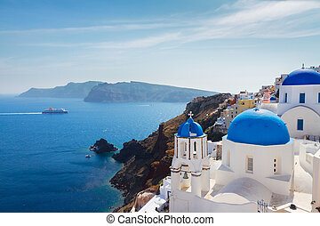 view of caldera with blue domes, Santorini - volcano caldera...