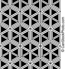 Monochrome abstract interweave geometric seamless pattern...