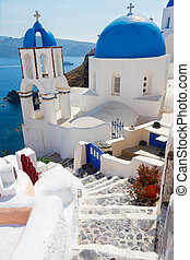 view of caldera with stairs and church, Santorini