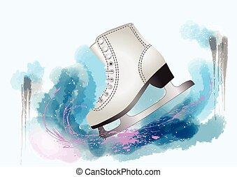 figure skating. skate on multicolor background with splash
