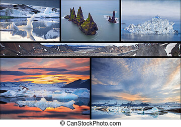 Icelandic landscapes collage - Photo collage from Iceland...
