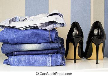 pretas, alto, calcanhar, sapato, para, mulher,