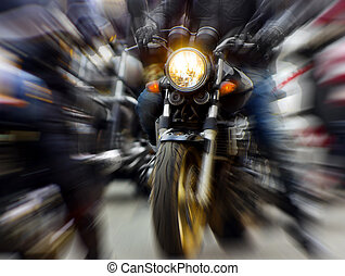 Motorcycle - motorcycle rushing at city street, blurred...