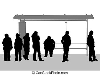 Bus stop people - People at bus stop on white background