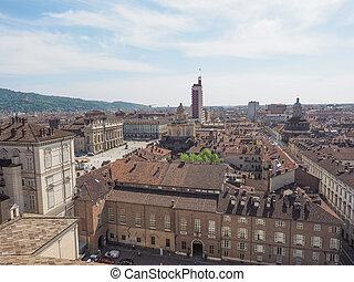 Piazza Castello Turin - Aerial view of Piazza Castello...