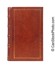 Leather bound vintage book cover - Leather bound brown...