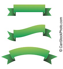 Green ribbon set - vector illustration.
