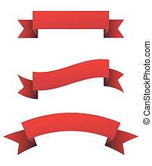 Red ribbon set - vector illustration.