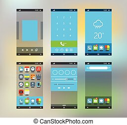 Modern smartphone interface with flat material design...