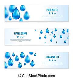 Blue shiny water drops banners set.