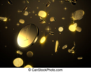 Falling golden coins - Coins are falling from heaven with...