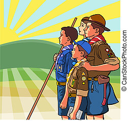 Scouts - A group of young scouts face sun rising