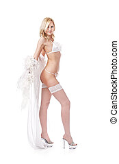 girl in peignoir - charming flirt in peignoir isolated on...