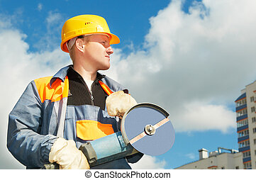 builder worker at construction site - builder worker in...