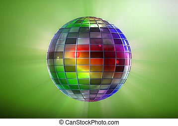 Full color strange disco ball - Multicolor ball with grid...
