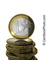 Euro concept - Standing euro coins with mirror pattern and...