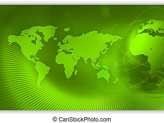 World concept background - Globe on green with world map in...