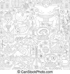 Japanese Seamless Pattern - Vector seamless pattern with...