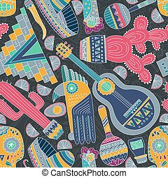 Mexico Seamless Pattern - Seamless vector pattern with hand...