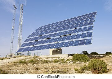 Solar energy - solar panel with blue sky and...