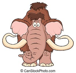 Mammoth Cartoon Character. Illustration Isolated On White