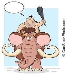 Funny Caveman Over Mammoth Illustration With Background